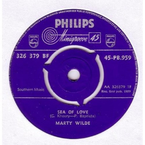 "7"" 45RPM Sea Of Love/Teenage Tears by Marty Wilde from Philips (45-PB.959)"