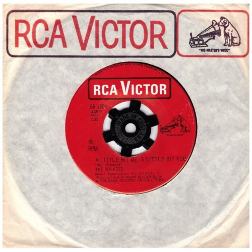 """7"""" 45RPM A Little Bit Me, A Little Bit You/The Girl I Knew Somewhere by The Monkees from RCA Victor (66-1004)"""