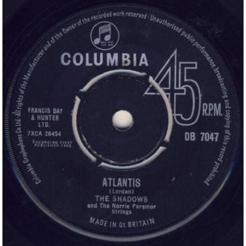 "7"" 45RPM Atlantis/I Want You To Want Me by The Shadows from Columbia (DB 7047)"