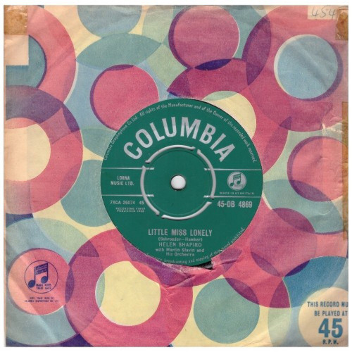 """7"""" 45RPM Little Miss Lonely/I Don't Care by Helen Shapiro from Columbia (45-DB 4869)"""