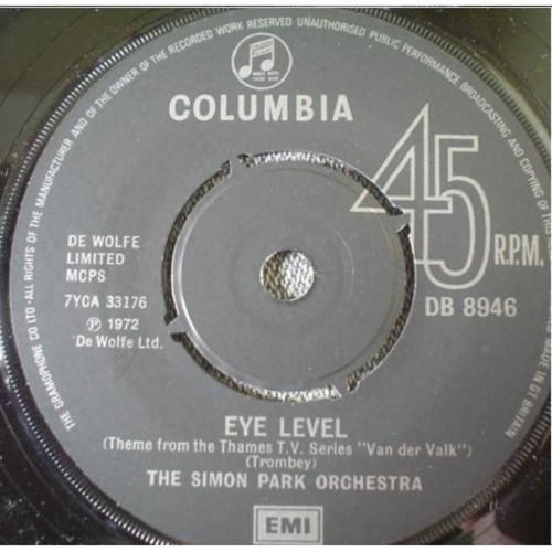 """7"""" 45RPM Eye Level/Distant Hills by The Simon Park Orchestra from Columbia (DB 8946)"""