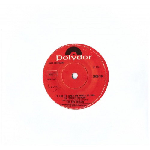 """7"""" 45RPM I'd Like To Teach The World To Sing (In Perfect Harmony)/Boom Town by The New Seekers from Polydor (2058-184)"""