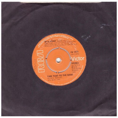 """7"""" 45RPM Take That To The Bank/Shalamar Disco Gardens by Shalamar from RCA Victor (FB 1379)"""