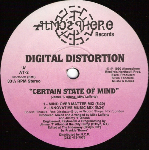 """12"""" 33RPM Certain State Of Mind/This Is Our B-Side by Digital Distortion from Atmosphere Records"""