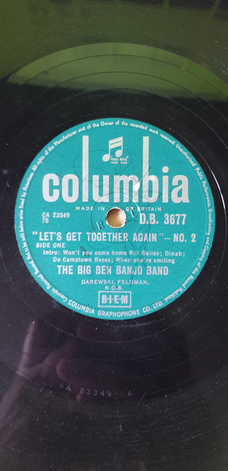 """10"""" 78RPM Let's Get Together Again No. 2 by The Big Ben Banjo Band from Columbia (D.B. 3677)"""