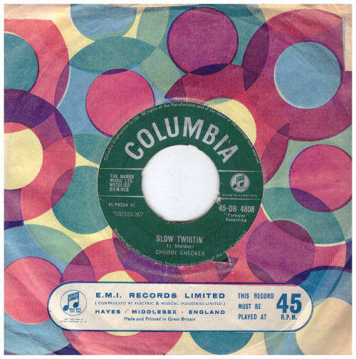 "7"" 45RPM Slow Twistin'/The Lose-Your-Inhibitions Twist by Chubby Checher from Columbia (45-DB 4808)"