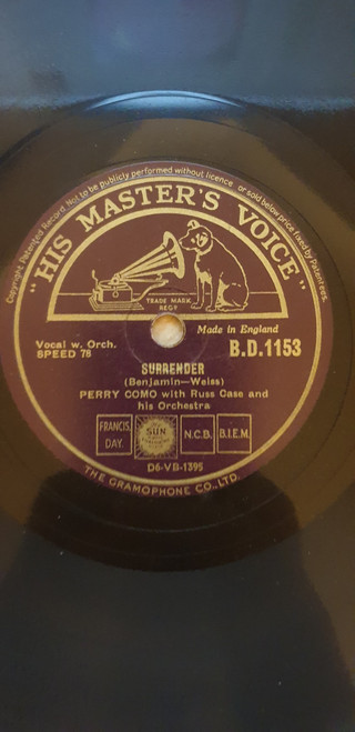 """10"""" 78RPM Surrender/Temptation by Perry Como from His Master's Voice (B.D.1153)"""