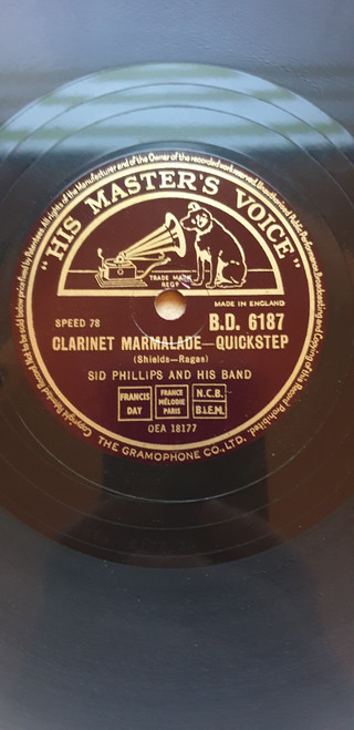 """10"""" 78RPM Clarinet Marmalade/Russian Rag by Sid Phillips And His Band from His Master's Voice (B.D. 6187)"""
