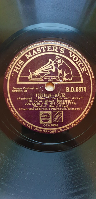 "10"" 78RPM Together/My Beautiful Sarie Marais by Joe Loss And His Orchestra from His Master's Voice (B.D.5874)"