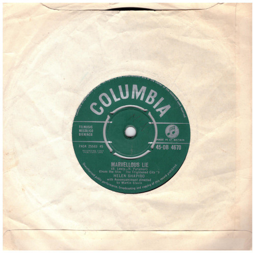 "7"" 45RPM You Don't Know/Marvellous Lie by Helen Shapiro from Columbia (45-DB 4670)"