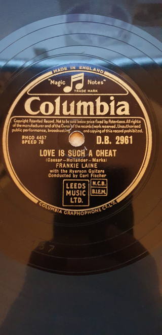 """10"""" 78RPM Love Is Such A Cheat/Allentown Jail by Frankie Laine/Jo Stafford from Columbia (D.B. 2961)"""