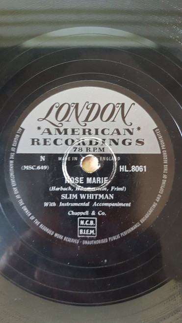 "10"" 78RPM Rose Marie/We Stood At The Altar by Slim Whitman from London American Recordings (HL.8061)"