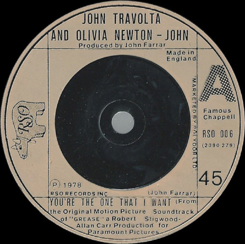 """7"""" 45RPM You're The One That I Want/Alone At A Drive-In Movie (Instrumental) by John Travolta & Olivia Newton-John from RSO (RSO 006)"""