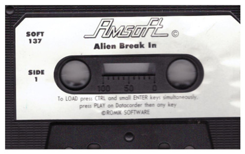 Alien Break In Tape Only for Amstrad CPC from Amsoft (SOFT 137)