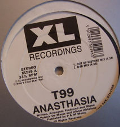 """12"""" 33RPM Anasthasia by T99 from XL Recordings"""