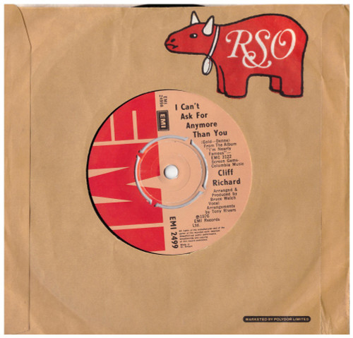 "7"" 45RPM I Can't Ask For Anymore Than You/Junior Cowboy by Cliff Richard from EMI (EMI 2499)"