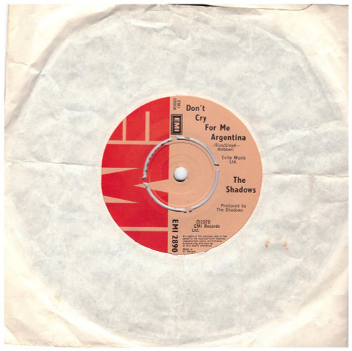 "7"" 45RPM Don't Cry For Me Argentina/Montezuma's Revenge by The Shadows from EMI (EMI 2890)"