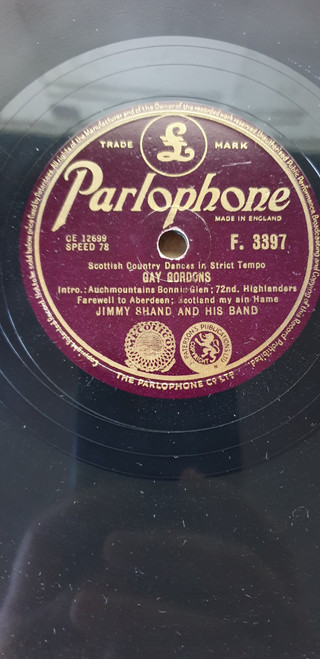 "10"" 78RPM Gay Gordons/Waltz Country Dance by Jimmy Shand And His Band from Parlophone (F. 3397)"