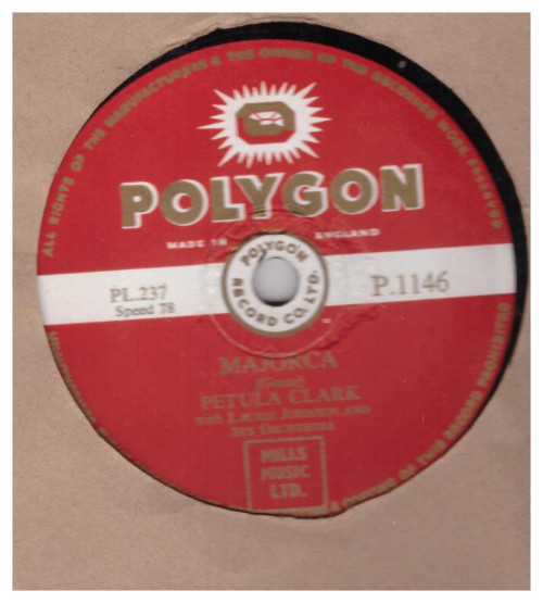 "10"" 78RPM Majorca/Fascinating Rhythm by Petula Clark from Polygon (P.1146)"