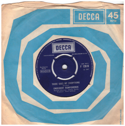 """7"""" 45RPM There Goes My Everything by Engelbert Humperdinck from Decca (F 12610)"""