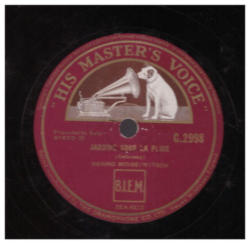 Debussy: Jardins Sous La Pluie by Benno Moiseiwitsch from His Master's Voice (C.2998)