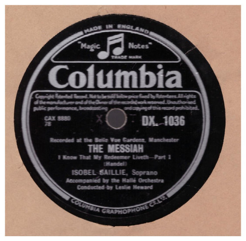 Handel: The Messiah by Isobel Baillie from Columbia (DX. 1036)