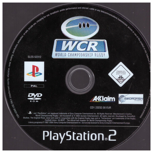 World Championship Rugby Disc Only for Sony Playstation 2/PS2 from Acclaim (SLES 52312)