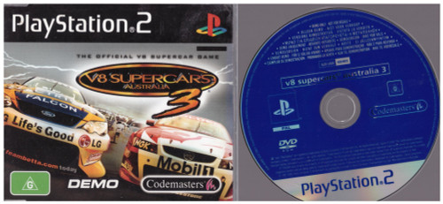 V8 Supercars Australia 3 Demo Disc for Sony Playstation 2/PS2 from Codemasters (SLED 53888)