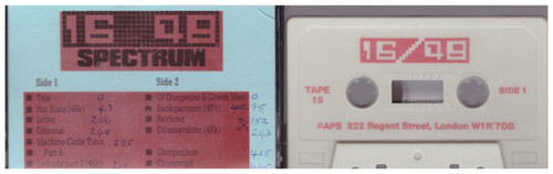 16/48 Computing Issue 15 1985 Covertape for ZX Spectrum