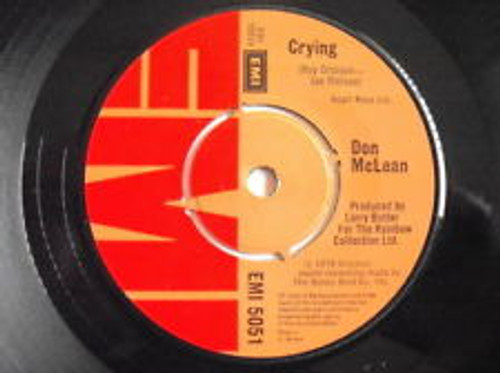 "7"" 45RPM Crying/Genesis (In The Beginning) by Don McLean from EMI"