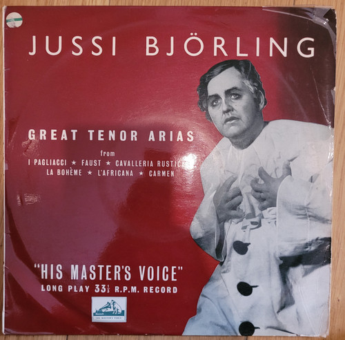 Great Tenor Arias by Jussi Bjorling from His Master's Voice (BLP 1055)