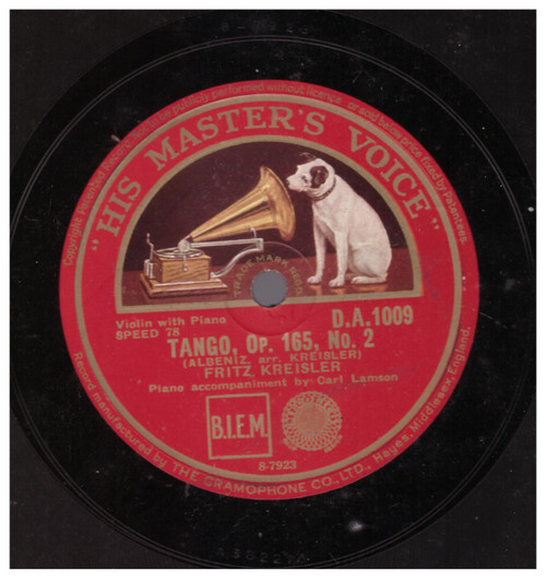 Tango, Op. 165, No. 2 by Fritz Kreisler from His Master's Voice (D.A. 1009)
