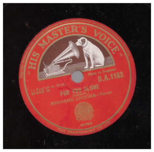 For You Alone/Because by Richard Crooks from His Master's Voice (D.A.1163)