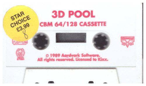 3D Pool Tape Only for Commodore 64 from Kixx