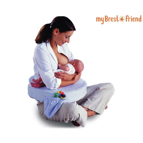 My Brest Friend Pillow – Blue Stripe in use