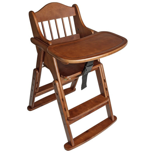 Safetots Folding Wooden High Chair Dark Wood