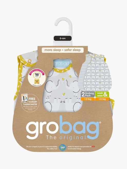 Grobag Elephant Love - Wash & Wear - Twin pack - 1 Tog