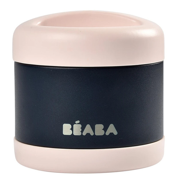 Beaba Stainless steel storage pot 500ml - Light Pink/Night Blue
