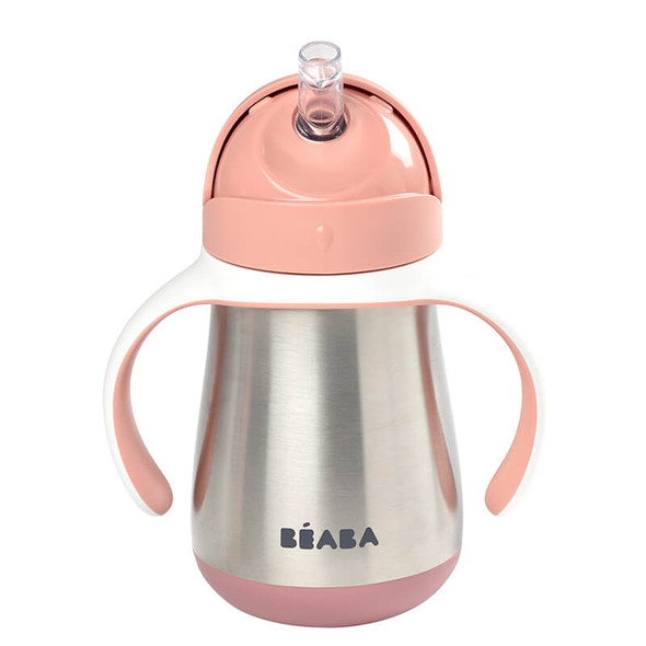 Beaba Stainless Steel Straw Cup 250ml - Old Pink