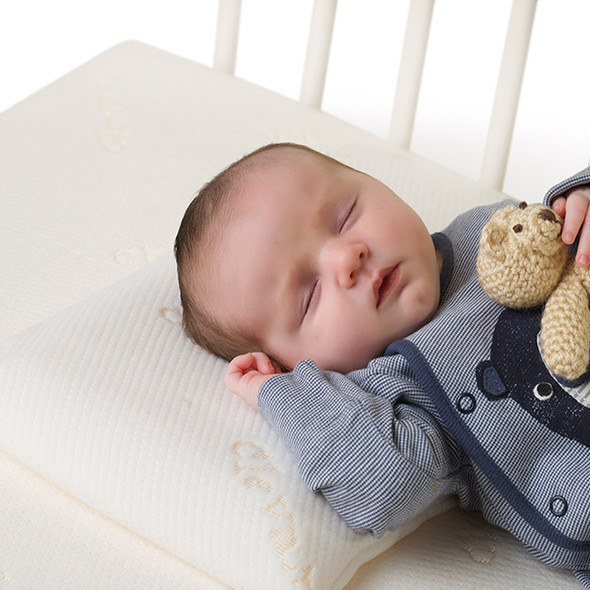 Clevamama Memory Foam Baby Pillow in use