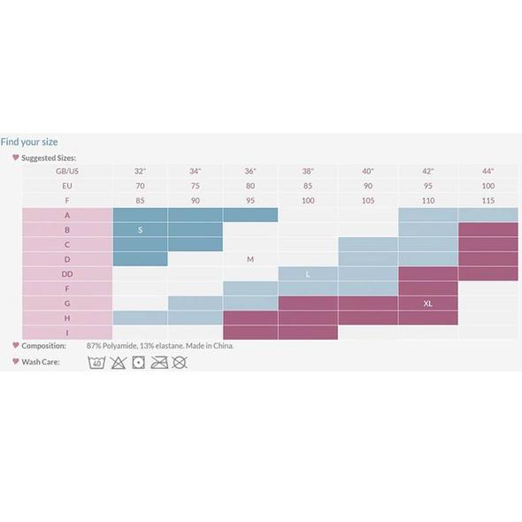 Carriwell Seamless Maternity Bra  size chart