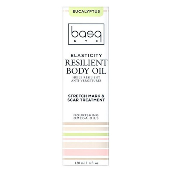 Basq Resilient Body Stretch Mark Oil - Eucalyptus box front