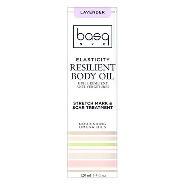 Basq Resilient Body Stretch Mark Oil - Lavender box front