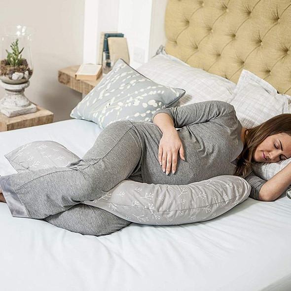 Dreamgenii Pregnancy Support & Feeding Pillow - Floral Grey White