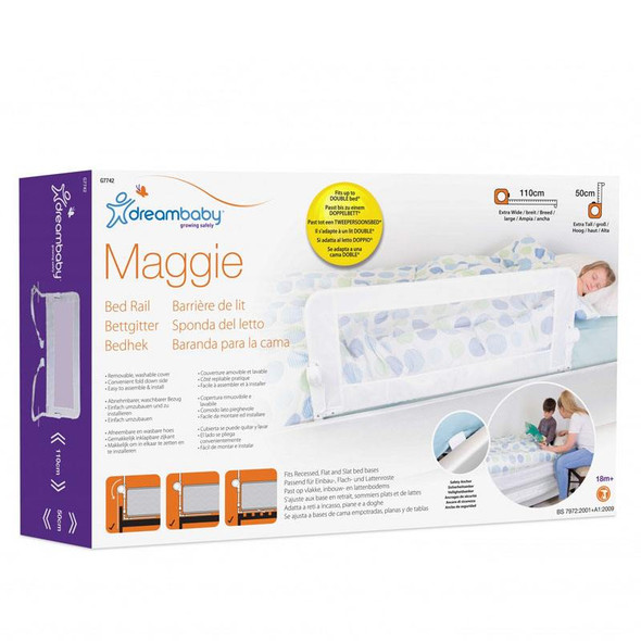 Dreambaby Maggie Bedrail - White (Fits Recessed, Flat & Slat Beds) box
