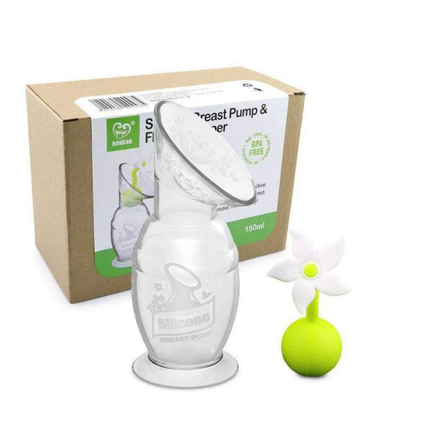 Haakaa 150Ml Silicone Breast Pump & White Flower Stopper Giftset Box