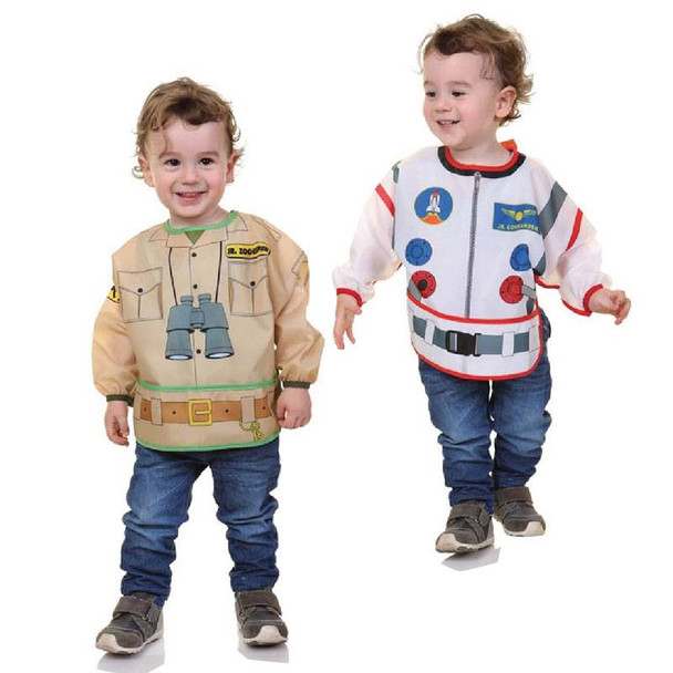 Dreambaby Bib / Smocks With Sleeves - Astronaut & Zookeeper 2Pk live