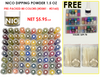 Nico Dipping Powder 1.5 oz - Pre-packed- 80 Colors (D081-D160) FREE:(value: $59.70) BLANK SAMPLE TIP + 5 FOIL KITS + FOIL ACTIVATOR