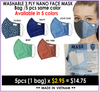 Washable Nano 3 Ply Face Mask,  Pack/5pcs (NET $2.95/pc) - Choose Your Color