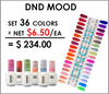 DND  Mood Changing Gel .5 oz Set - 35 Colors (#01 - #36 Out of stock #19) (Net $6.50/ea)